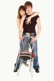 piękne dziewczyny obejmowanie seksowny facet Fotografia Stock