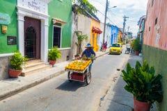 Piękne ulicy w Cartagena, Kolumbia Zdjęcie Stock
