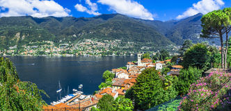 Piękne wioski Lago Di Como, Blevio - Zdjęcie Stock