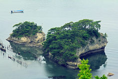 Piękne wysepki w Matsushima zakrywali z sosnami r na roc Obrazy Stock