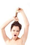 pięknego brunetki portreta rozkrzyczani potomstwa Fotografia Stock