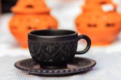 Pięknego Czarnego rocznika porcelany Thai stylowy teacup, kawowy cu Zdjęcia Royalty Free