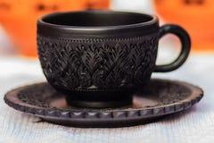 Pięknego Czarnego rocznika porcelany Thai stylowy teacup, kawowy cu Zdjęcie Stock