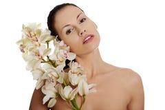 pięknego kwiatu naga storczykowa kobieta Obraz Stock