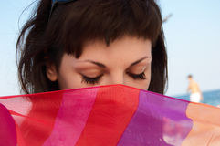 pięknego portreta pasiasta tkankowa kobieta Fotografia Stock