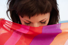 pięknego portreta pasiasta tkankowa kobieta Fotografia Royalty Free
