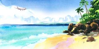Pi?knego raju tropikalna wyspa z tropikaln? pla??, ocean, piaskowata pla?a, drzewka palmowe, ska?y, lataj?cy samolot na niebie ilustracji