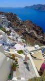 Pięknego santorini panoramiczny widok Zdjęcie Stock