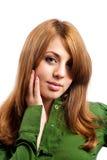 pięknej blondynki odosobniony biel Obraz Stock