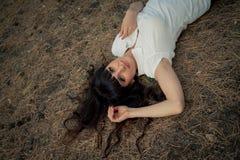 pięknej brunetki target1647_0_ kobieta Obrazy Royalty Free