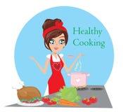 Pięknej damy kulinarna polewka i porcja kurczak Obrazy Royalty Free