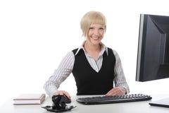 pięknej dziewczyny biurowa praca Zdjęcie Stock