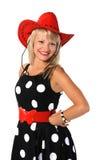 pięknej dziewczyny kapeluszowi czerwoni potomstwa Fotografia Royalty Free