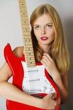 pięknej gitary seksowna kobieta Zdjęcia Stock