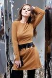 Pięknej kobiety damy wiosny seksownej jesieni splendoru inkasowy model Zdjęcie Stock