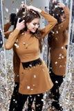 Pięknej kobiety damy wiosny seksownej jesieni splendoru inkasowy model Zdjęcie Royalty Free