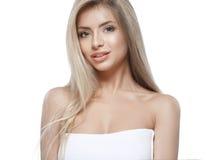 Pięknej kobiety portreta twarzy blond studio Zdjęcie Stock
