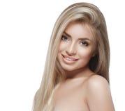 Pięknej kobiety portreta twarzy blond studio Obrazy Stock