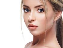 Pięknej kobiety portreta twarzy blond studio Zdjęcia Royalty Free