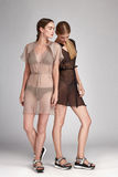 Pięknej mody dwa kobiet seksowna brunetka i blondyny Zdjęcia Royalty Free