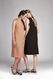 Pięknej mody dwa kobiet seksowna brunetka i blondyny Obrazy Royalty Free