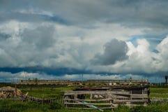 Pięknej natury Wiejski krajobraz z chmurami Obraz Royalty Free
