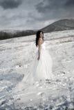pięknej sukni delikatny dziewczyny biel Zdjęcia Royalty Free