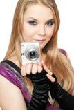 piękni blondynki kamery mienia fotografii potomstwa Obrazy Stock