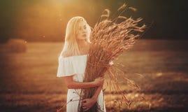 Piękni blondyny w polu Fotografia Stock