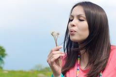 piękni dmuchania kwiatu menchii kobiety potomstwa Fotografia Royalty Free