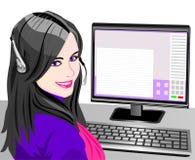 piękni dziewczyny operatora telefonu wektoru potomstwa ilustracji