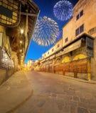Piękni fajerwerki nad Arno rzeka i Ponte Vecchio przy zmierzchem, Florencja Zdjęcia Royalty Free