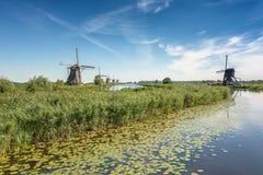 Piękni Holenderscy wiatraczki przy Kinderdijk Obraz Royalty Free