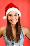 piękni kapeluszu s Santa kobiety potomstwa Obraz Royalty Free