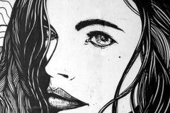 Piękni kobiety twarzy graffiti Zdjęcia Royalty Free