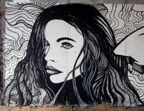 Piękni kobiety twarzy graffiti Obraz Royalty Free