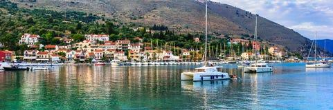 Piękni miejsca Grecja, Ionian wyspa Kefalonia malowniczy Obrazy Royalty Free