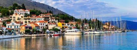 Piękni miejsca Grecja, Ionian wyspa Kefalonia malowniczy Zdjęcie Stock