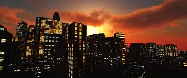 Piękni noc drapacze chmur przeciw niebu obraz royalty free