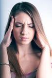 piękni oczu migreny bólu kobiety potomstwa Obrazy Stock