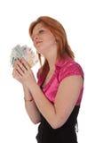 piękni pieniądze kobiety potomstwa fotografia royalty free