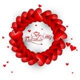 Piękni serca dla byli mój valentine dnia typografii tekstem Fotografia Royalty Free