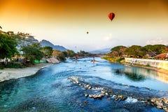 Piękni widoki góry i balonowa wycieczka turysyczna, punkty zwrotni Obraz Stock