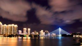 Piękno brzeg rzeki noc Obrazy Stock