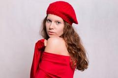 Piękno dziewczyna w czerwieni Obrazy Royalty Free