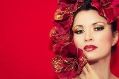 Piękno dziewczyny Wzorcowy portret kobieta z kijem Obrazy Royalty Free