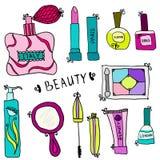 Piękno i kosmetyk ikon doodles Fotografia Royalty Free
