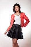 Piękno kobieta w czerwonej kurtce Fotografia Stock