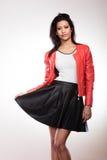 Piękno kobieta w czerwonej kurtce Fotografia Royalty Free