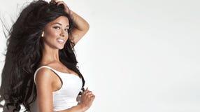 Piękno portret brunetki kobieta Zdjęcia Stock